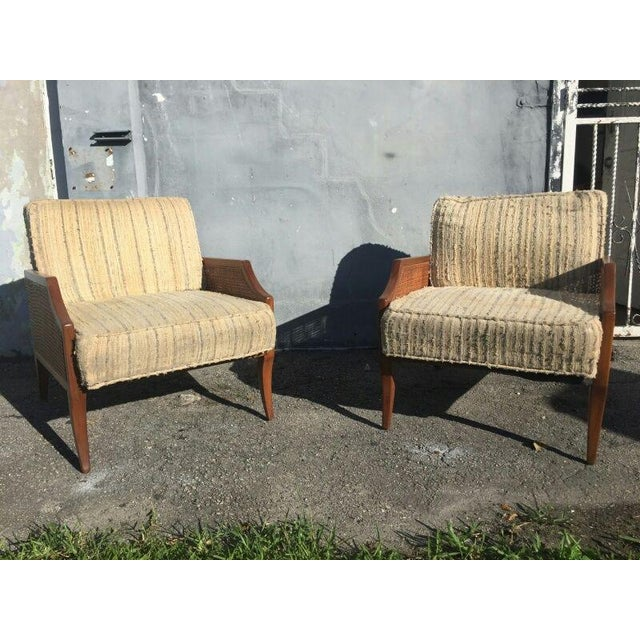 Mid-century modern Danish teak saber leg greek revival low slung lounge chairs sold as found in beautiful condition with...