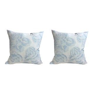 """Christopher Farr """"Peonies"""" in Pale Blue Pillows - a Pair For Sale"""