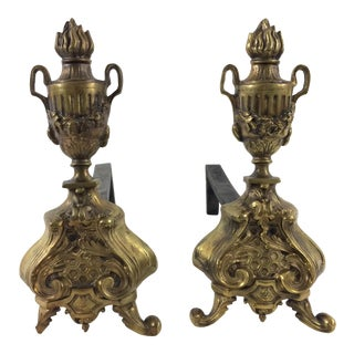 Napoleon III Brass Andirons with Honeycomb Pattern - A Pair