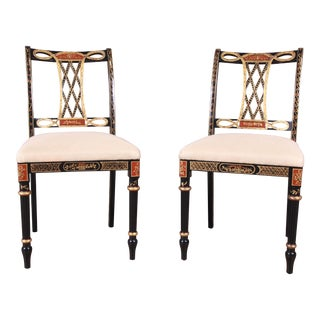 Councill Regency Ebonized Hand-Painted Side Chairs, Pair For Sale