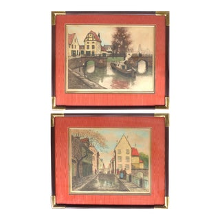 Early 20th-C European Hand-Colored Street-Scene Engravings-A Pair For Sale