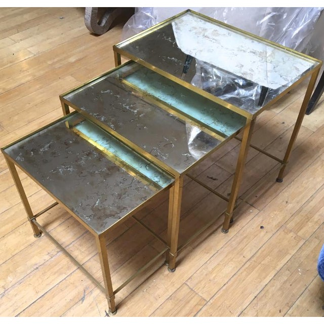 Marc Du Plantier Refined Gold Bronze 3 Nesting Tables For Sale - Image 6 of 8