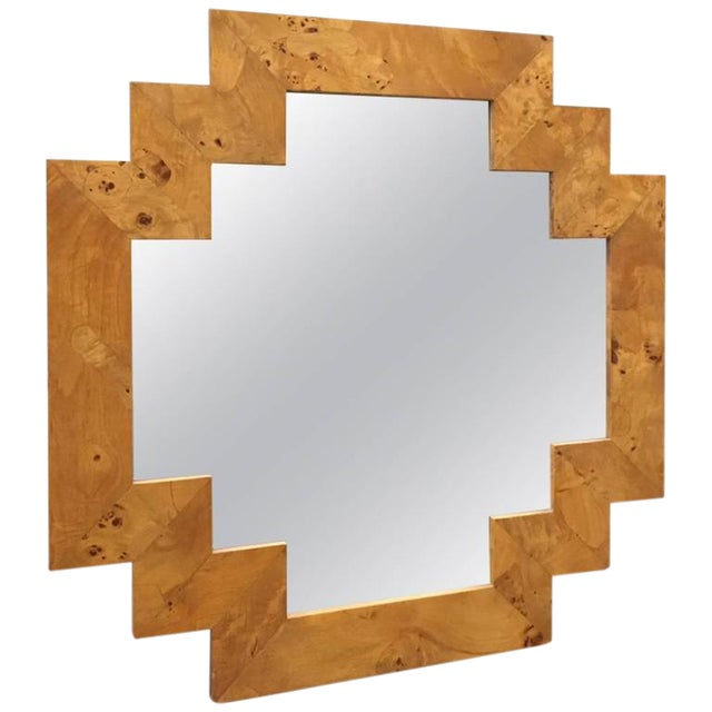 Geometric Italian Burl Mirror For Sale