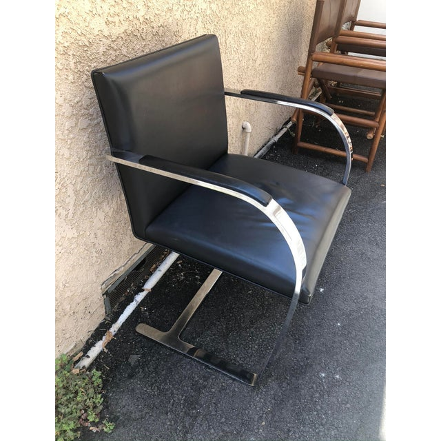 Mid-Century Modern Vintage Knoll Chrome Black Chair For Sale - Image 3 of 8