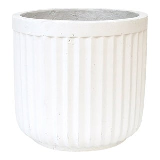 Extra Large Plaster Fluted Plant Pot For Sale
