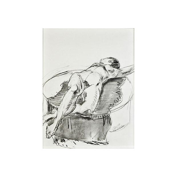 Reclining Nude on Blanket Drawing - Image 2 of 2
