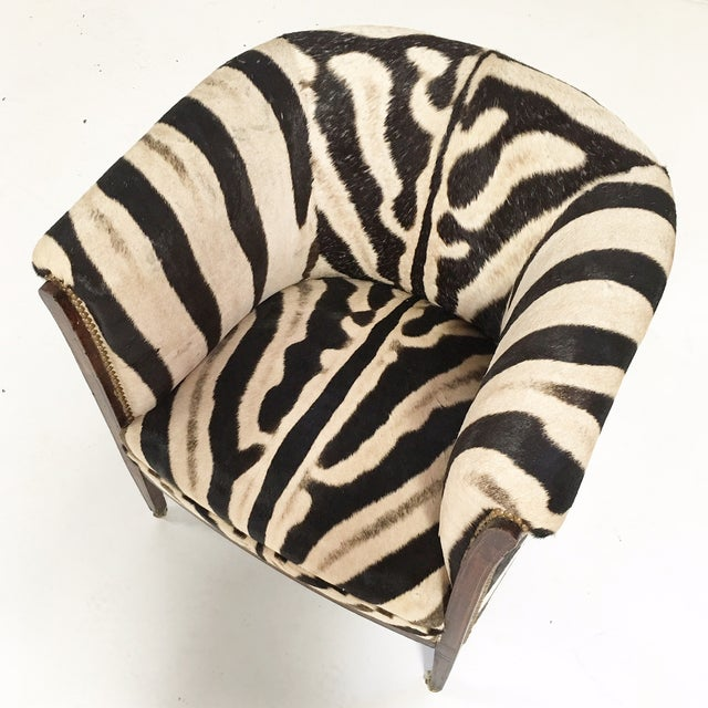 Vintage 1930s Barrel Chair in Zebra Hide - Image 10 of 11