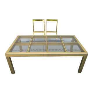 Mastercraft Brass and Beveled Glass Dining Table -Expands to 10 Feet For Sale