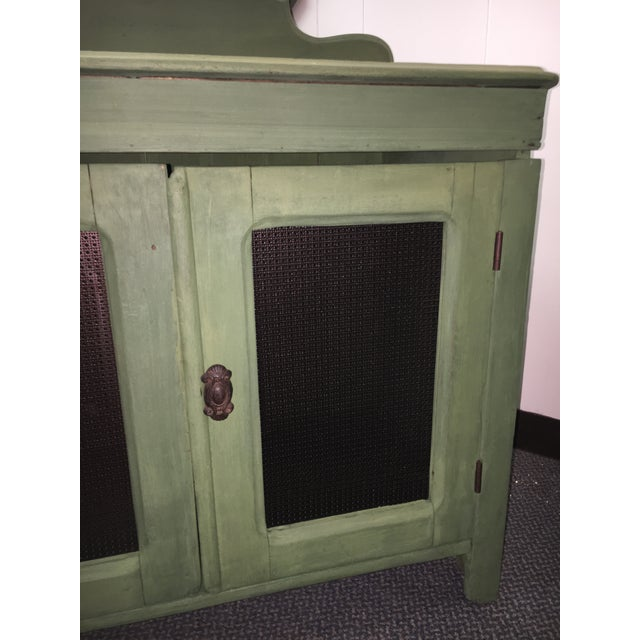Cottage Antique Painted Green Grain Cabinet For Sale - Image 3 of 7