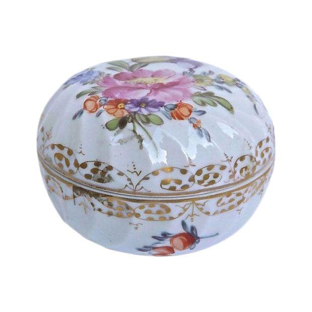 Antique French Porcelain Floral Limoges Box For Sale