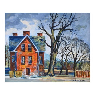 Big Red House Painting by W a Grasowski For Sale
