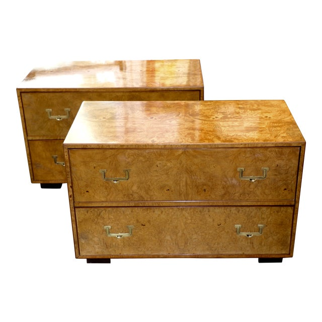 Mid Century Vintage Widdicomb Campaign Styles Nightstand in Burlwood- A Pair For Sale