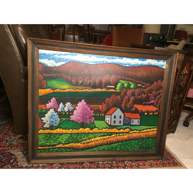 Traditional Late 20th Century Fall Landscape Oil on Canvas Painting For Sale - Image 3 of 8