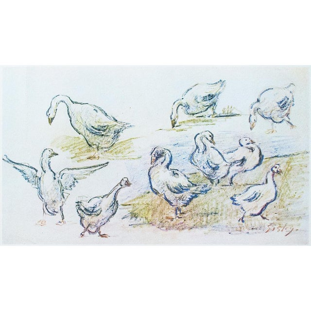 Cottage Style Hungarian Geese Lithograph by Alfred Sisley, 1959 For Sale