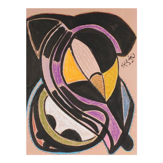 Modernist Abstract in Ink and Pastel, 1972 For Sale