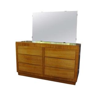 Rway Blond Mahogany Sideboard Bowfront Dresser & Beveled-Edge Mirror