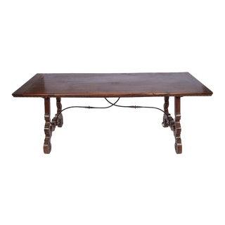 19th Century Italian Walnut Iron Trestle Table For Sale