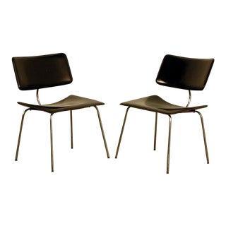 1970s Vintage Slender Italian Stitched Leather Lounge Chairs - a Pair For Sale