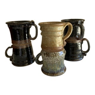 Rustic Farmhouse Handmade Pottery Mugs, Set of Six For Sale