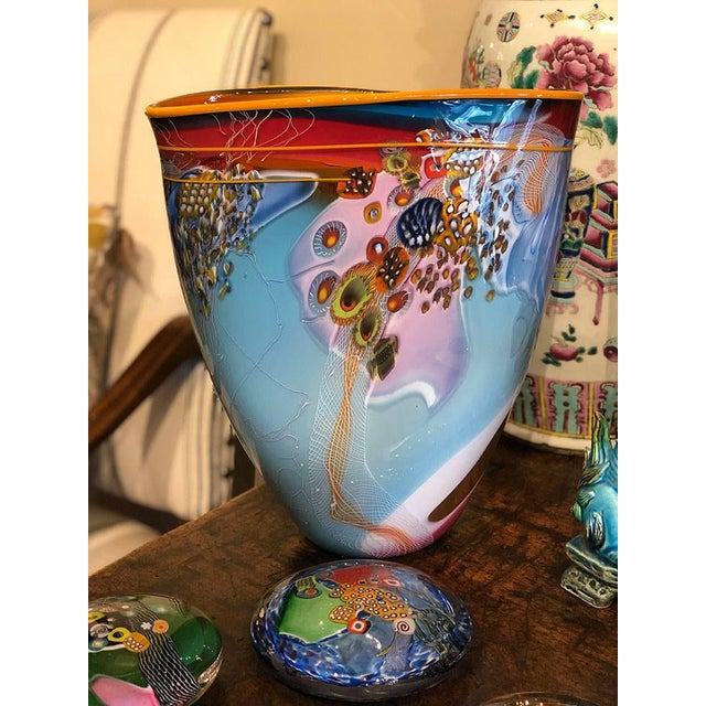 "Fabulous large handblown glass vase in a contemporary style with a millefiori design. Signed lower right. 11.5"" Wide x..."