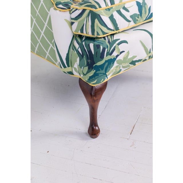1960s Vintage Palm Leaf Pattern Fabric Wingback Chair For Sale In Greensboro - Image 6 of 13