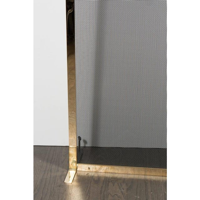 Modern Ultra Chic Custom Minimalist Fire Screen Polished and Lacquered Brass For Sale - Image 3 of 10