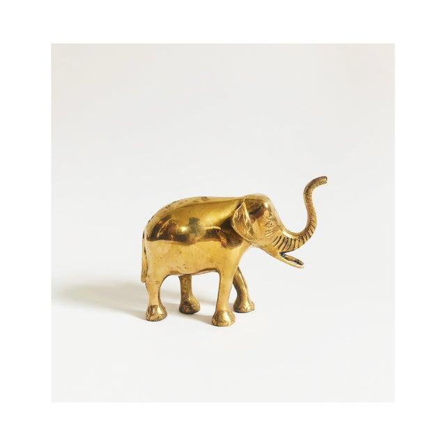 Metal Vintage Brass Elephant For Sale - Image 7 of 7
