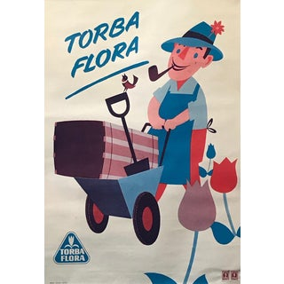 1960s Italian Agricultural Poster, Torba Flora (Man on a Tractor) For Sale