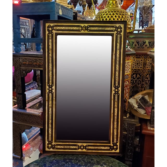 Large Moroccan Rectangular Resin Inlay Mirror For Sale In Orlando - Image 6 of 7