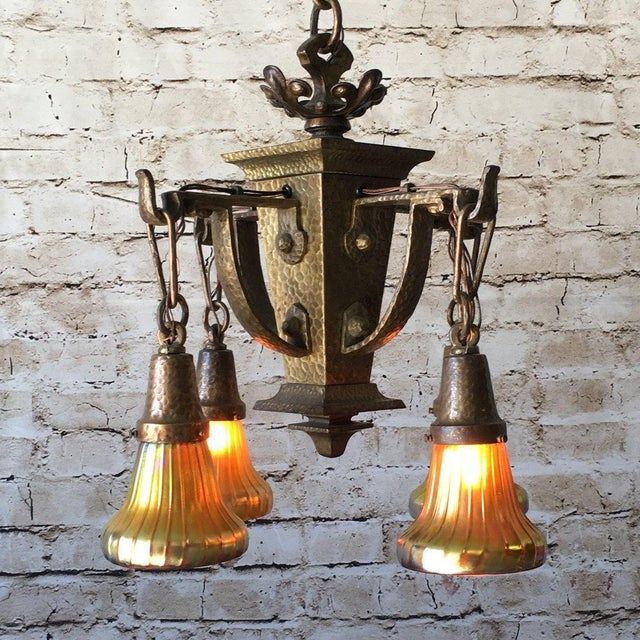 1910s Hammered Arts and Crafts Mission Craftsman Chandelier For Sale - Image 5 of 7