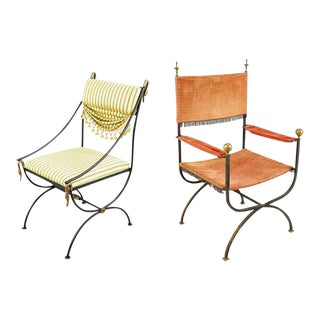 Two Iron Neoclassical Armchairs With Bronze Mounts For Sale
