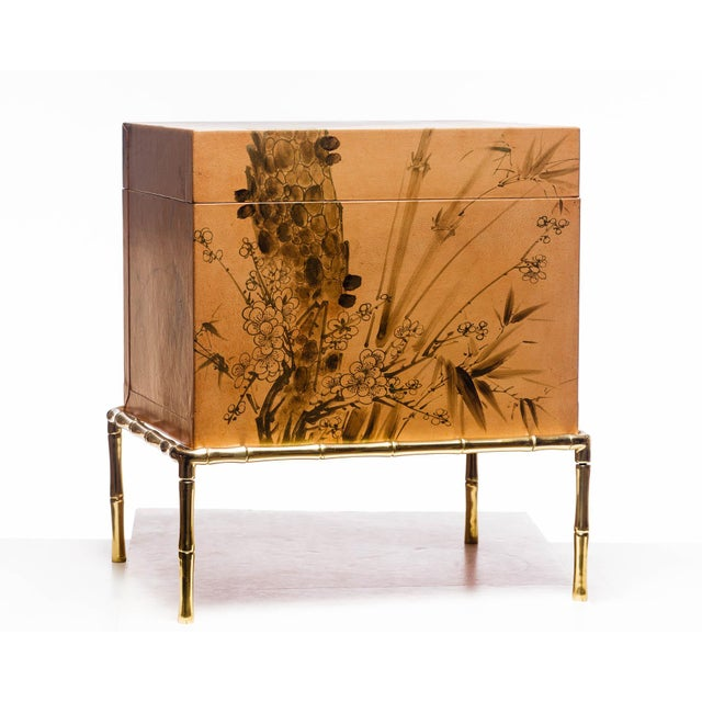 Chinoiserie Hand-Painted Natural Tan Leather Box on Handcrafted Brass Stand as Side Table For Sale - Image 3 of 11