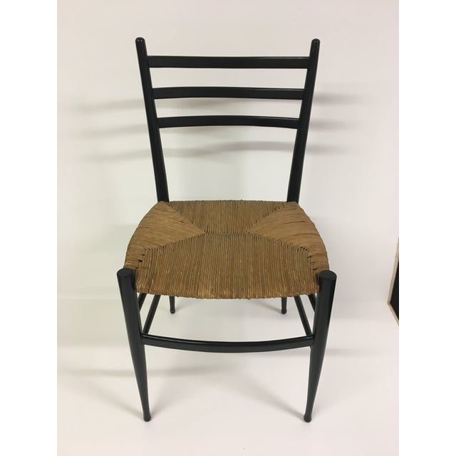 1960s 1960s Vintage Chiavari Rush Seat Ladderback Spinetto Dinning Chairs- Set of 4 For Sale - Image 5 of 10