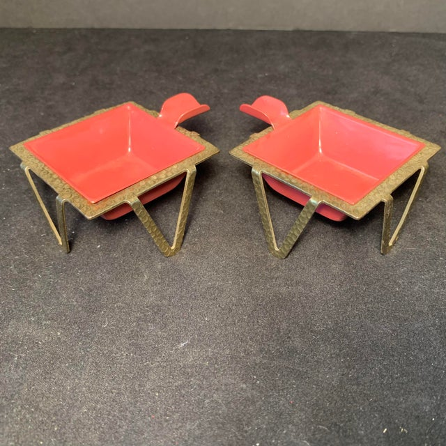 Mid-Century Enamel & Brass Ashtrays - a Pair For Sale - Image 4 of 6