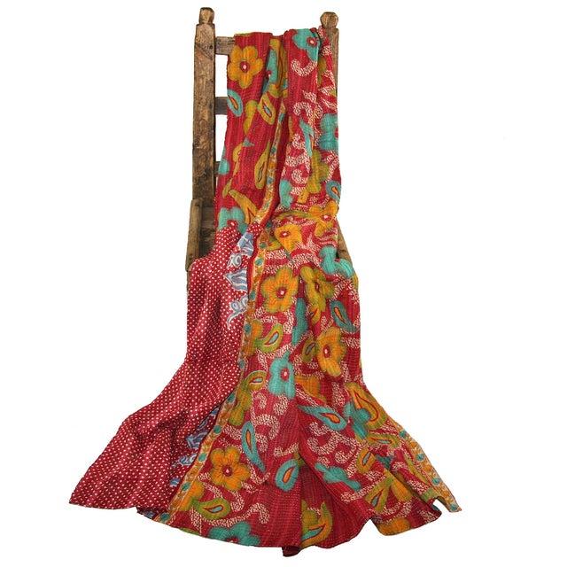 Vintage Red Kantha Quilt - Image 2 of 3