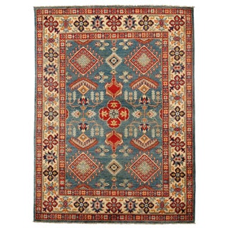 Contemporary Kazak Lamb's Wool Rug - 5′ × 6′10″ For Sale