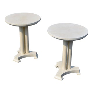 Enrique Garcel Neoclassical Tessellated Bone Side Tables for Jimeco Itda For Sale