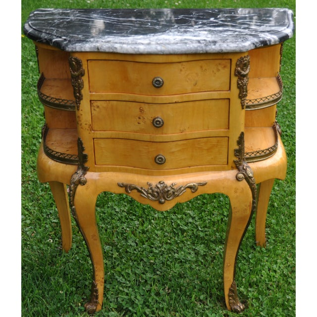 Vintage Louis XV Mounted Marble Top & Bronze Detail Side Table For Sale - Image 11 of 11