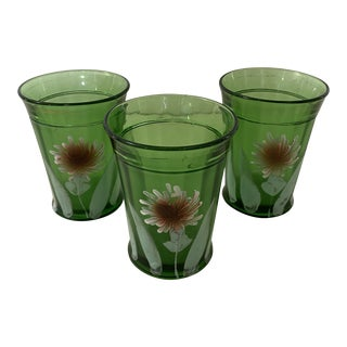 Northwood Green Astor Tumblers - Set of 3 For Sale