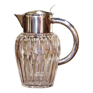 Midcentury French Cut-Glass and Silvered Brass Pitcher With Ice Holder Insert For Sale