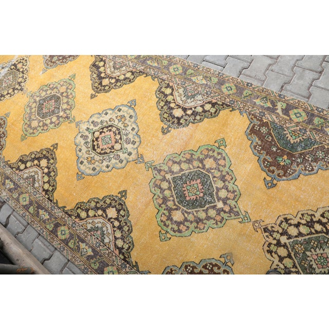 """1960's Wide Vintage Turkish Hand-Knotted Runner Rug - 5' X 12'4"""" For Sale - Image 4 of 11"""