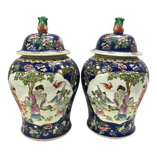Large Chinese Covered Blue White Urns Ginger Jars - A Pair For Sale