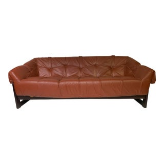 1950s Vintage Percival Lafer Brazilian Rosewood & Leather Sofa For Sale