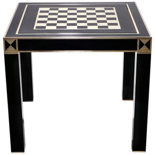 j.c. Mahey Lacquered and Brass Game Table, 1970s For Sale