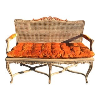 French Style Bench With Cane For Sale