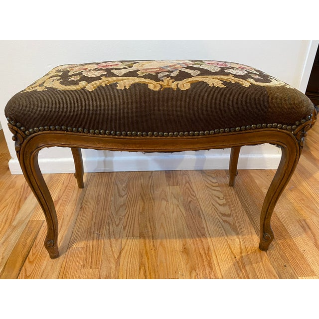 Vintage Needle Point Drum and Flower Design Bench For Sale - Image 10 of 10