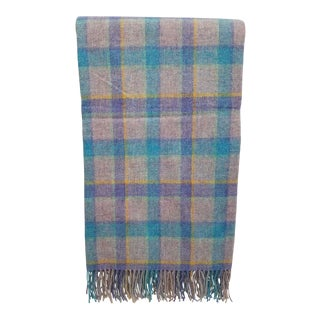 Wool Throw Blue and Purple Stripes on a Gray Background - Made in England For Sale