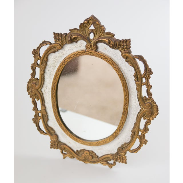 1900 - 1909 Antique French Bronze Table Dressing Mirror For Sale - Image 5 of 5