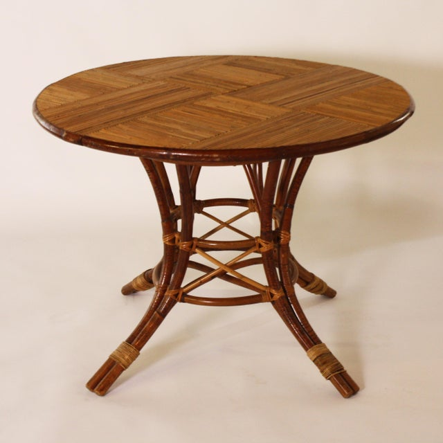 1960s French Bamboo Round Table With Leaf C. 1960 For Sale - Image 5 of 9