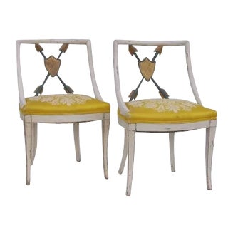 20th Century Painted and Gilt Chairs- a Pair For Sale